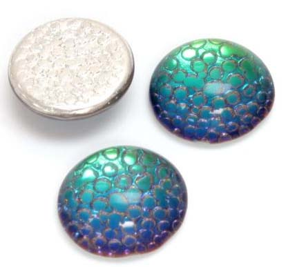 HELIO GREEN - EMBOSSED IRIDESCENT CABOCHONS