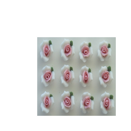 "1/2"" WHITE WITH PINK ROSES"