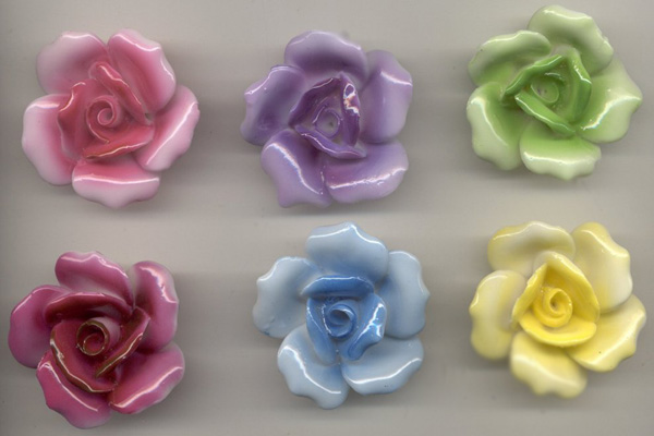 SET OF 6 GLOSSY VINTAGE ROSES