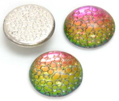 HELIO RED - EMBOSSED IRIDESCENT CABOCHONS