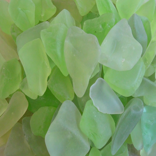BEACH GLASS - LARGE LIME