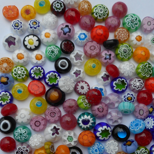 MELTED MILLEFIORI<BR>SMALL - TRANSPARENT