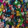12MM GLASS FOILED HEARTS - MULTI