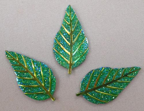 GLITZY LEAF - GREEN - SET OF 3