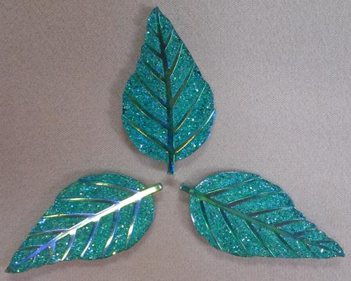 GLITZY LEAF - AQUA - SET OF 3