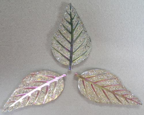 GLITZY LEAF - CRYSTAL - SET OF 3