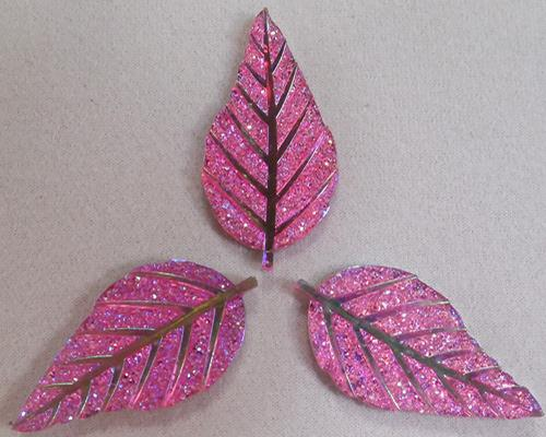 GLITZY LEAF - PINK - SET OF 3