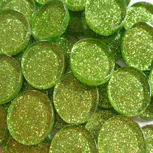 20MM GLITTER ROUND - BRIGHT LIME