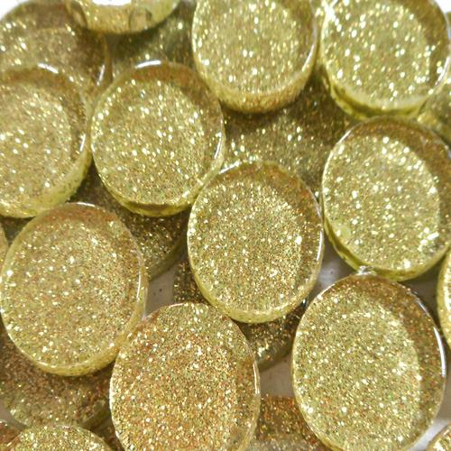 20MM GLITTER ROUND - PALE GOLD
