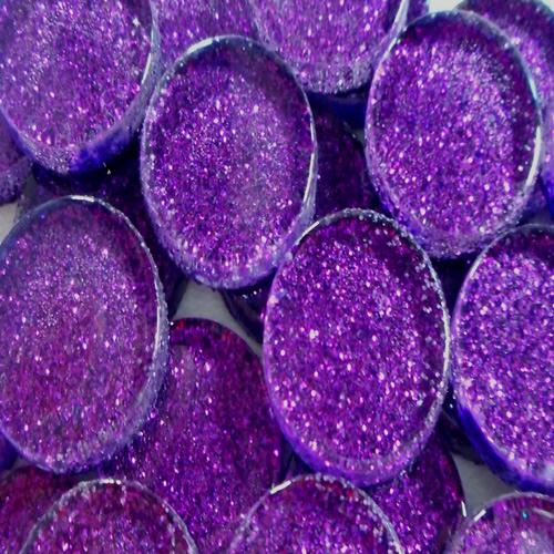 20MM GLITTER ROUND - PURPLE