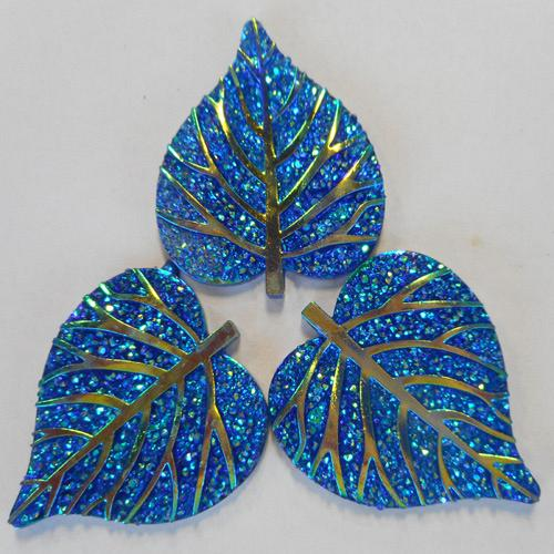 ROUNDED GLITZY LEAF - BLUE