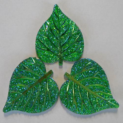 ROUNDED GLITZY LEAF - GREEN
