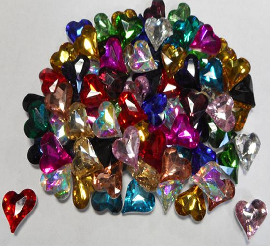 12MM GLASS FOILED SKEWED HEARTS - MULTI